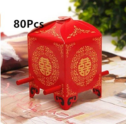 ASIBT 80 Pack Chinese Traditional Red Bridal Sedan Chair Style Wedding Bridal Shower Favor Candy Gift Boxes ()
