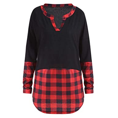 626af43d65d4 Image Unavailable. Image not available for. Color  Vertily Blouse Patchwork  Women s Large Size Plaid Stitching Long Sleeve Shirts