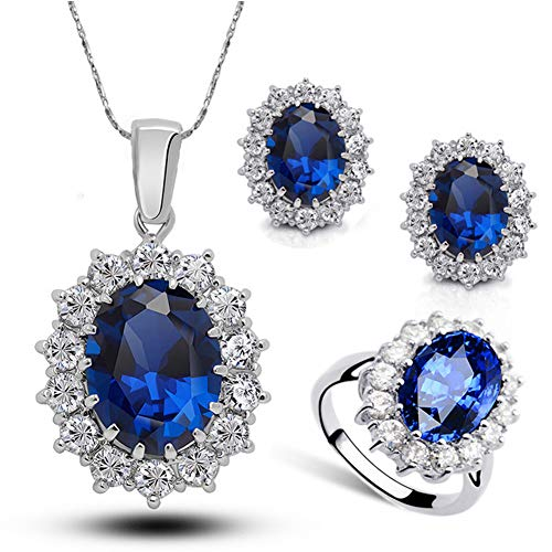 McDoo! Women Necklace Ring Earrings Set, Princess Diana William Kate Blue Sapphire Jewelry Set ()