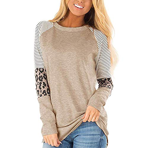 Sewpring Casual Striped Cheetah Round Neck Long Sleeve Shirt Color Block Tunics Leopard Print Tops for Women