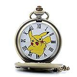 Pikachu Genius Pokemon Quartz Pocket Watch Necklace Chain Women Girls Watch