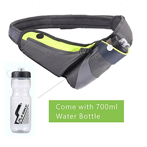 YAPA Running Belt Hydration Waist Pack with Water Bottle Holder for Men Women Waist Come with Water Bottle Pouch Fanny Bag Reflective Fits iPhone 6/7 (Bigger Water)