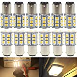 AMAZENAR 12-Pack BA15D 1142 Soft Warm White 3000k LED Light 12V-DC, 5050 27 SMD Car Replacement for Interior RV Lighting Camper Turn Signal Light Lamps Tail Backup Bulbs