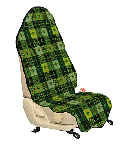 Ambesonne Irish Car Seat Cover, Patchwork Style St. Patrick's Day Themed Celtic Quilt Cultural Checkered with Clovers, Car and Truck Seat Cover Protector with Nonslip Backing Universal Fit, Multicolor