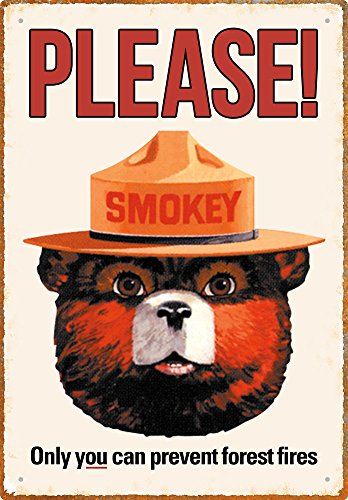 (Aquarius Smokey Bear 8X11.5 Tin Sign)