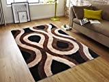 All New Contemporary Water Drop Design Shag Rugs by Rug Deal Plus (5' x 7', Taupe/Brown)