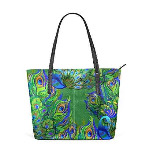 COOSUN Plumas del pavo real verde modelo abstracto de hombro bolso de cuero del monedero y bolsos de la bolsa de asas para las mujeres Medio muticolour
