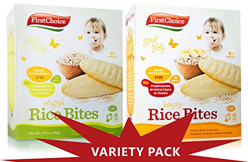 First Choice Rice Bites Baby Snacks 1 Banana 1 Original (Variety 2 pack) by FIRST CHOICE