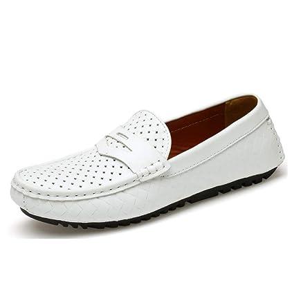 Mocasines de cuero de primavera para hombre, mocasines transpirables, zapatos de guisantes huecos y