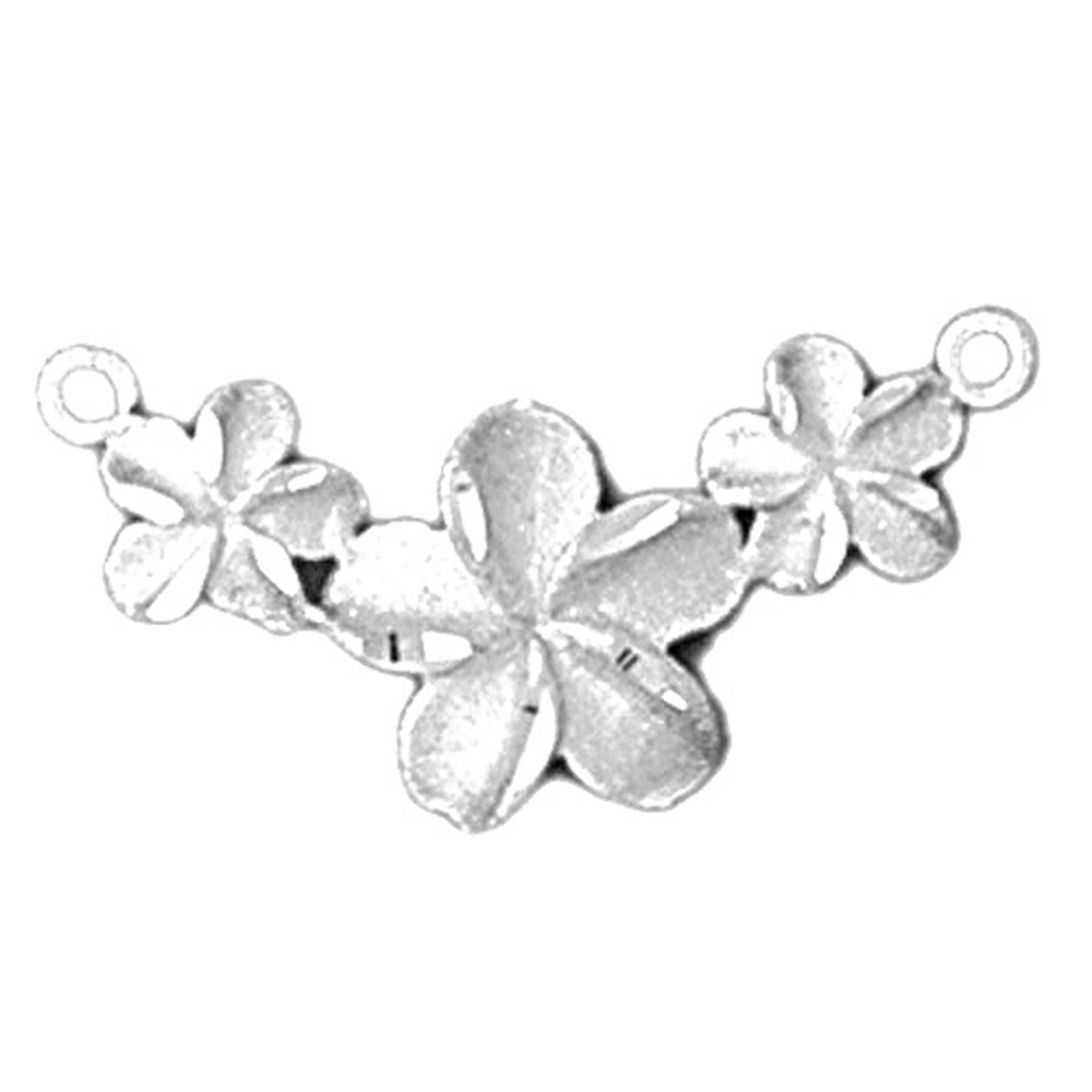 Rhodium-plated 925 Silver Plumeria Flower Lei Pendant with 18 Necklace Jewels Obsession Flower Necklace