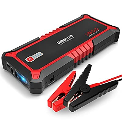 GOOLOO 1500A Peak Car Jump Starter Auto Battery Booster Power Pack, Power Delivery 15W USB Type-C Portable Phone Charger with Dual USB 3.0 Quick Charging, Built-in LED Light and Smart Protect