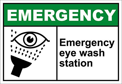 Wash Eye Osha Emergency (Emergency Eye Wash Station Emergency OSHA / ANSI LABEL DECAL STICKER Sticks to Any Surface 10x7)