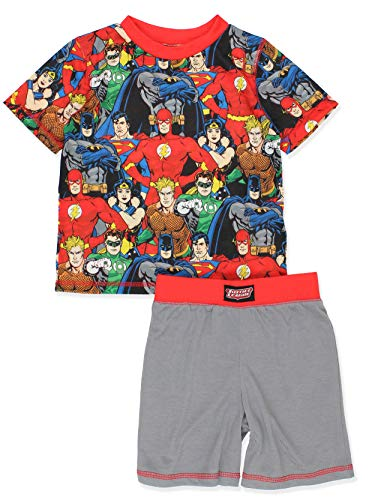 Justice League DC Comics Boy's Short Sleeve Top and Shorts Pajamas Set (Small (6-7), Grey/Red)