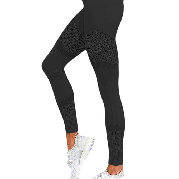 Yoga Pantalones Atléticos,Color Sólido Malla Costura mujer ...