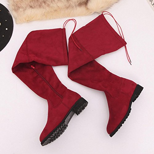 Womens Over Ladies Red Buckle Boots High Shoes Slim Knee The Trim Bescita Flat 5AdwqX5