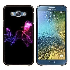 KLONGSHOP // Cubierta de piel con cierre a presión Shell trasero duro de goma Protección Caso - Resumen de humo - Samsung Galaxy E7 E700 //