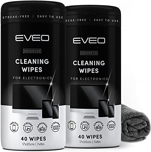 Electronics Wipes for Screen Cleaner [2 Pack x 40] TV Screen, Computer Screen, Laptop, Phone, Tablet, Smart Watch, and Electronics Devices – Microfiber Cloth Included, Streak-Free [80 Wipes]