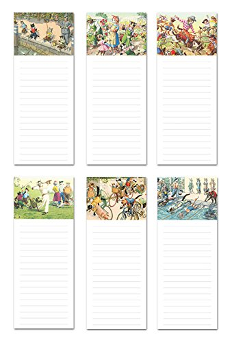 6 Magnetic Notepads - Vintage Crazy Cats Series - 6 Different Designs on 3.5 x 9 Pads