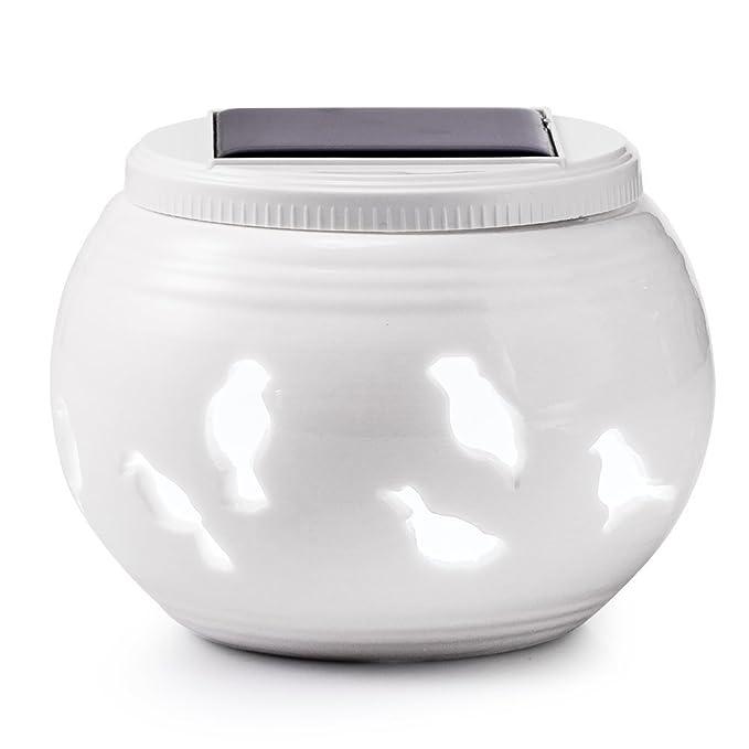 Lámpara solar de mesa de cerámica con luz solar LED, luces de ...