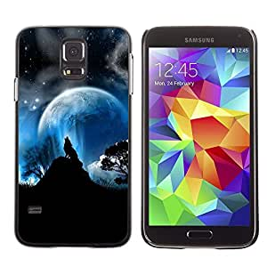 Impact Case Cover with Art Pattern Designs FOR Samsung Galaxy S5 Wolf Moon Mountain Trees Night Sky Forest Betty shop