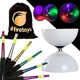 Juggle Dream LED Big Top Bearing Diabolo Set with Coloured Aluminium Diablo Sticks & Firetoys Cotton Bag! Select Stick Colour! Batteries Inc