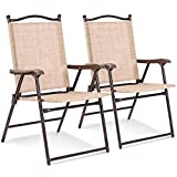 Set of 2 Patio Folding Sling Back Chairs Camping Deck Garden Beach Yellow with Ebook