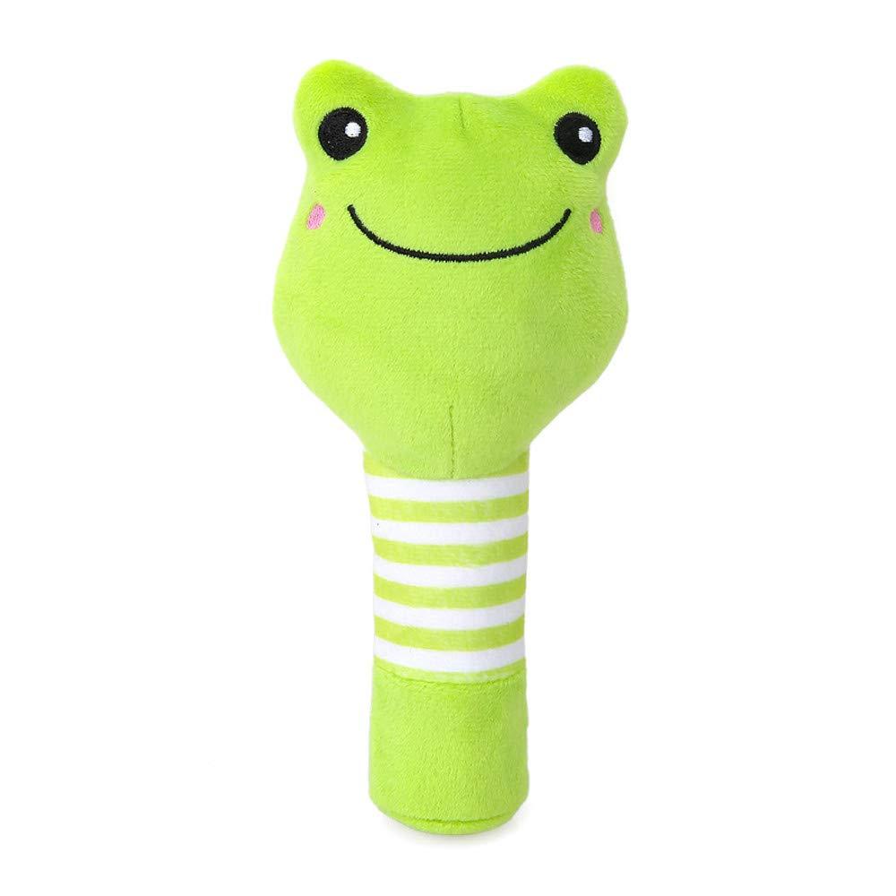 Gbell ベビー ソフト フラシ天 ハンドベル - 子供用 動物 ハンドラトル 教育的 ぬいぐるみ おもちゃ 幼児 赤ちゃん 女の子 男の子 0-36ヶ月 - かわいい 猿 カエル 熊 犬 ラトル 13X7cm B07JLP6FF2  グリーン