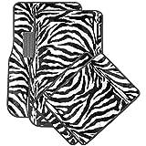 Motorup America Auto Floor Mats (Set of 4) - White Zebra Animal Print Fits Select Vehicles Car Truck Van SUV