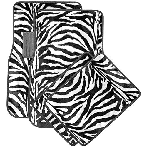 Motorup America Auto Floor Mats (Set of 4) - White Zebra Animal Print Fits Select Vehicles Car Truck Van SUV by Motorup America