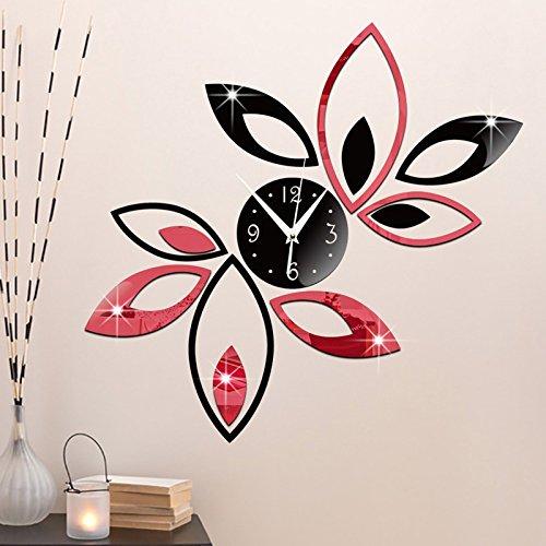 Reloj de pared LFNRR Rhombus Hojas Hojas Tatuajes de pared 3D relojes antiguos Espejo acrílico DIY extraíble moderno,rojo y negro: Amazon.es: Hogar