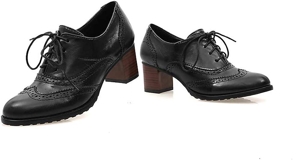 yunhou Femme Derbys Tête Ronde Chaussures Oxford Creux