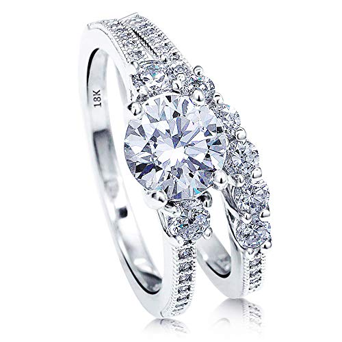 AndreAngel Wedding Sets Rings Engagement Bridal Marriage Promise Proposal Women White Gold 18K Carat Cubic Zirconia Lab Diamond AAAAA Stone Statement Princess Cut Solitaire Vintage Valentine Size - White Gold Ring Wedding 18k