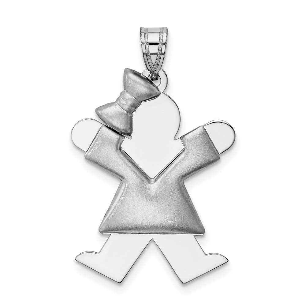 14K White Gold Puffed Jumping Girl w// Bow on Left Engravable Charm Pendant