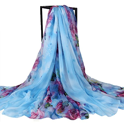 Colorful House Womens' Chiffon Sarong Wrap Oversize Swimsuit Beach Cover Up, Style 4 Flower Skyblue