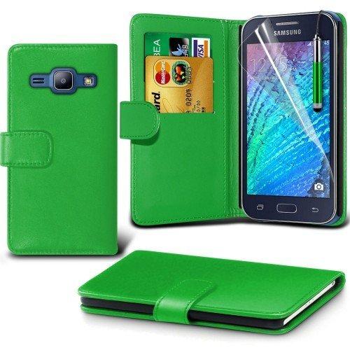 Samsung Galaxy J1 Cubierta del caso con cuero (Verde) Plus de regalo libre, Protector de pantalla y un lápiz óptico, Solicitar ahora mejor caja del teléfono Valorado en Amazon! By FinestPhoneCases
