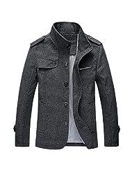 Men England Gentlemen Stand Collar Single-Breasted Autumn Winter Thicken Jacket