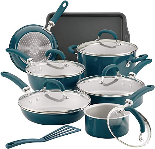 Rachael Ray Create Delicious 13-Piece Nonstick Cookware Set, Teal Shimmer (12144)