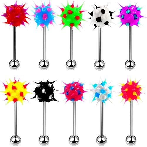 CrazyPiercing 10pcs Surgical Steel Spiky Acrylic Fire Tongue Nipple Ear Rings Bar Barbell Stud Piercing