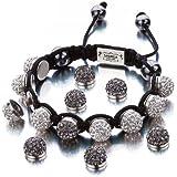 Shimla Jewellery Shimla Interchangeable White and Hematite Czech Crystal Beads Bracelet SH 111