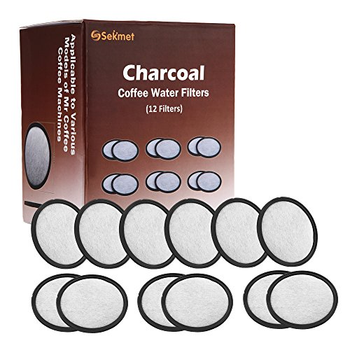 Sekmet Replacement Charcoal Water Filters for Mr Coffee Coffee Maker Machines (12-Pack)