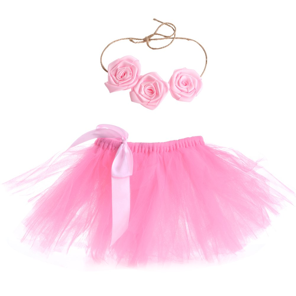 MEXUD Hairband Tutu Skirt with Lovely Baby Newborn Toddler Girls for Photography Photo Prop Costume Outfit (White)