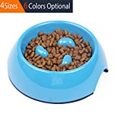 SuperDesign Three Columns Style Melamine Non-skid Slow Feed Bowl - For Dog and Cat - Small - Blue