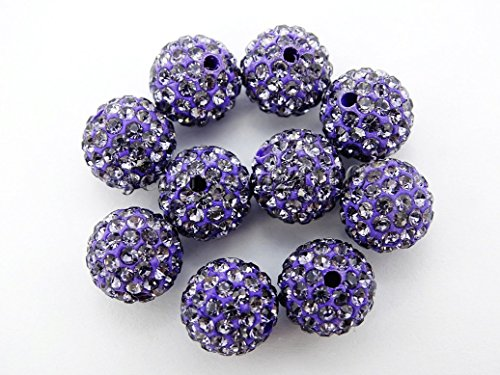 jennysun2010 Premium Quality Tanzanite Czech Crystal Rhinestones Pave Clay Round Disco Ball Spacer Loose 12mm Beads 100pcs per Bag for Bracelet Necklace Earrings Jewelry Making Crafts Design (Pave Tanzanite Earrings)