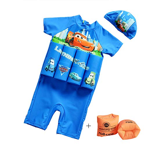 Swimwear Flotation (NIDALEE Kids boy Flotation Swimsuit with Adjustable Buoyancy Bathing Suit for 1-10 Years)
