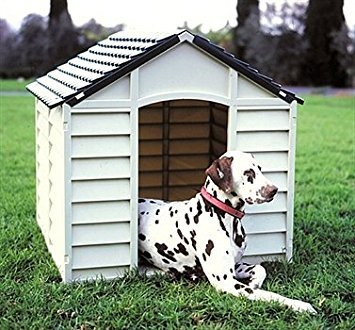 Large Heavy Duty Plastic Dog Kennel Pet Shelter PLASTIC DURABLE OUTDOOR color beige cream