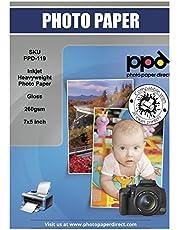 """PPD Papel fotográfico brillante para impresión de inyección de tinta (secado Instantáneo) 13x18 cm (7x5"""") 260 g/m² X 100 hojas PPD119-100"""