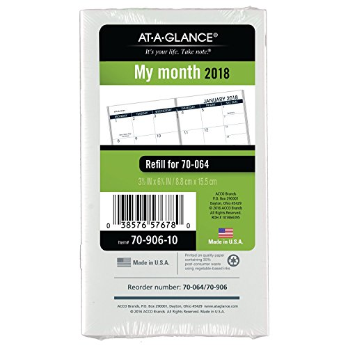 """AT-A-GLANCE Monthly Planner Refill, January 2018 - January 2019, 3-1/2"""" x 6-1/8"""" (7090610)"""