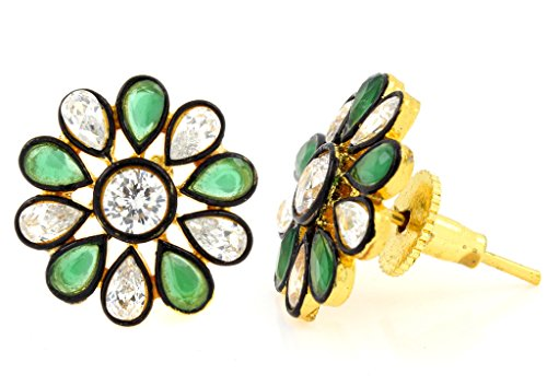 the-jewelbox-7-stone-flower-kundan-polki-cz-emerald-green-gold-plated-stud-earring-for-women