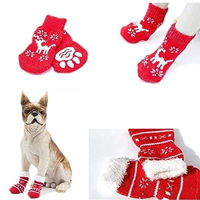Jashem Christmas Dog Socks Cotton Pet Socks Indoor Non Skid Socks for Dog 2 Pairs from Jashem