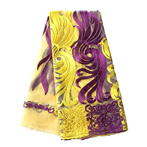 pqdaysun 5 Yards African Net Lace Fabrics Nigerian French Fabric Embroidered and Rhinestones Guipure Cord Lace F50378 (Yellow Purple) by pqdaysun (Image #5)